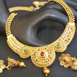 artificial indian traditional multiolcour stone studded round motif with beaded chain