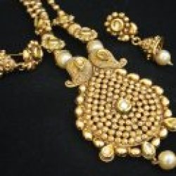 artificial jewellery – antic gold tone necklace set