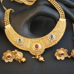 artificial multicolour stone studded round motif with beaded chain