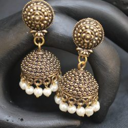 artificial oxidised gold and black jhumkii everyday wear