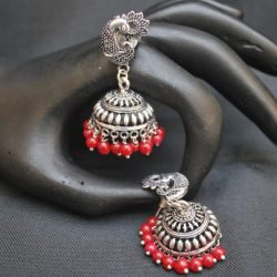 artificial peacock motif red beaded oxidized jhumkaa