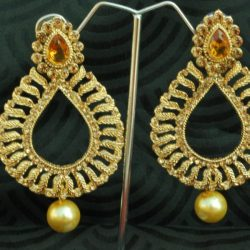 artificial reeti fashions – emerald colour stone in gold tone earrings