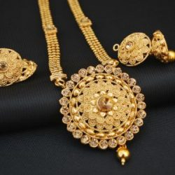 artificial reeti fashions – gold tone Phulkari Round motif long haram style necklace set
