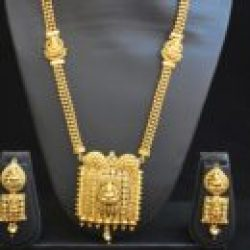 artificial  reeti fashions – gold tone Temple design long haram style necklace
