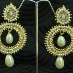 artificial reeti fashions – pearls and stone studded round motif tear drop earrings