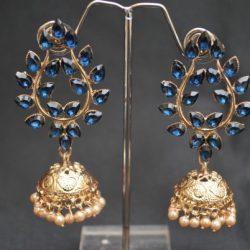 artificial royal blue leaf motif stone studded jhumki