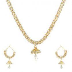 artificial sarwoski style white necklace set