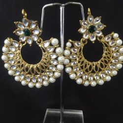 artificial stone studded pearl earrings