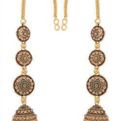 artificial traditional base metal jhumki earrings with full ear cover in gold and black for wome