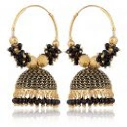 artificial traditional clustered black bead base metal bali earrings for women-1
