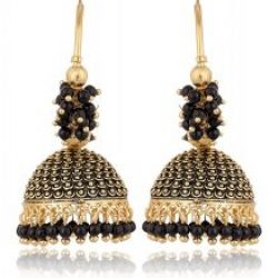 artificial traditional clustered black bead base metal bali earrings for women
