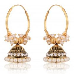 artificial traditional clustered off white pearls base metal bali earrings for women-1