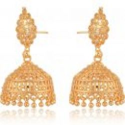 artificial traditional gold base metal jhumki earrings for women-1