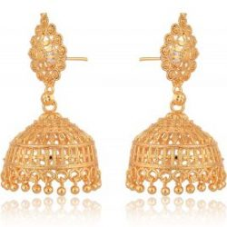 artificial traditional gold base metal jhumki earrings for women-1