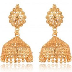 artificial traditional gold base metal jhumki earrings for women