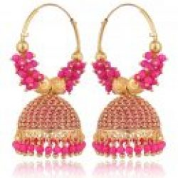 artificial traditional golden base metal pink clustered beads bali for women-1