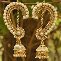 Designer Bridal Pearl studded Long Peacock Jhumkaa Earrings