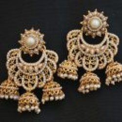 Fine Pearl Studded Chandlier Earrings Imitation Jewellery