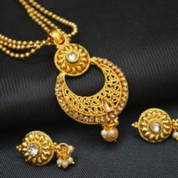 Imitation artificial gold tone elegant pendant set with beaded chain-2
