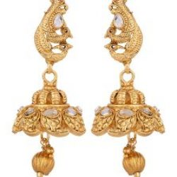 Imitation artificial golden copper base south Indian temple jewelry set for women-2