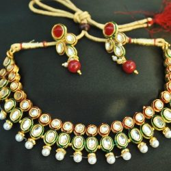 Imitation artificial multicolour kundan chokar necklace set