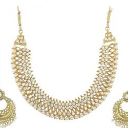Imitation artificial reeti fashions – white necklace set with pearl earrings