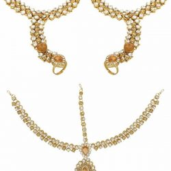 Imitation artificial stone studded hath panja with matching maang tikka