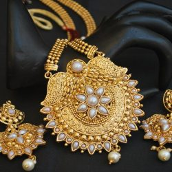 Imitation artificial studded white stone golden long necklace set-2