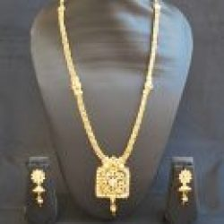 Imitation artificial traditional long haram geometric motif indian stone studded necklace set