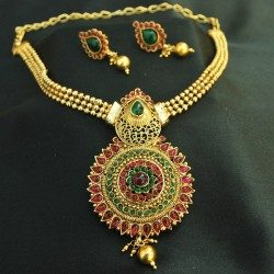 Imitation beautiful floral multicolour kundan pendant set
