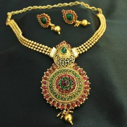 Imitation beautiful floral multicolour kundan pendant set