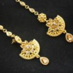 Imitation chandra nandini – helena's bridal jewellery set in gold tone 1