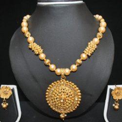 Imitation clustered pearls elegant necklace set in gold-1