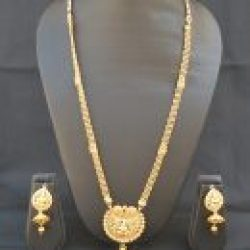 Imitation goddess lakshmi in gold artificial necklace set