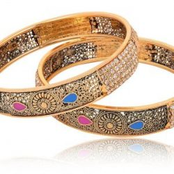 Imitation Gold Base Metal Bangle Set for Women-2