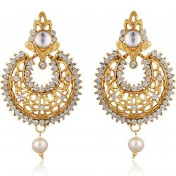 Imitation Gold Plated Dangle & Drop Earring with Maang Tikka Set for Women-3