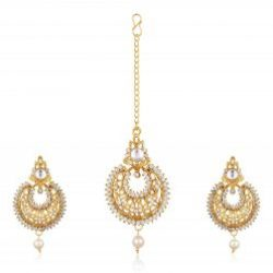 Imitation Gold Plated Dangle & Drop Earring with Maang Tikka Set for Women-5