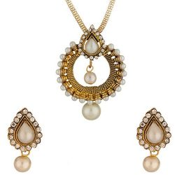 Imitation gold tone necklace set embedded with pearl beads and Cz-2