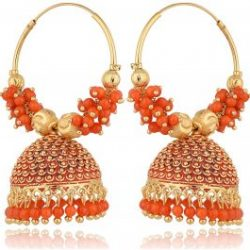 Imitation Golden and Orange Base Metal Clustered Beads Bali Earrings for Women-1