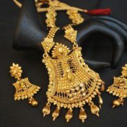Imitation golden perfect for wedding traditional Imitation long haram necklace set