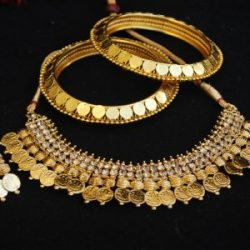 mitation gunie laxmi necklace set matching gunie bangles