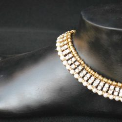 Imitation jewellery white stone studded anklets-1