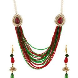 Imitation multi strings And cz embellished necklace set