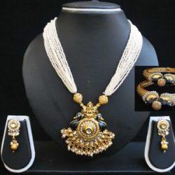 Imitation multilayer peacock motif necklace set and Jadau-1