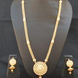 Imitation reeti fashions – gold Round Necklace set white kundan with pearl