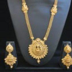 Imitation temple jewellery with goddess laxmi necklace set