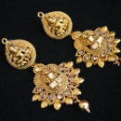 Imitation temple jewellery with goddess laxmi necklace set-2