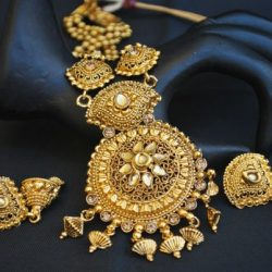 Imitation wedding Jewelry set in gold tone long haram
