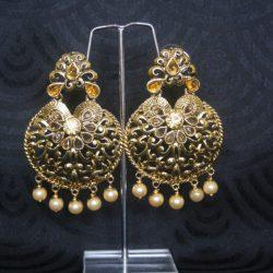 Meenakari-Gold-Tone-Pearl-Earrings