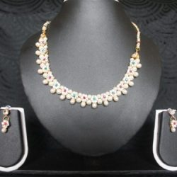 Artificial-Jewellery-Multicolour-Floral-Pearl-necklace-set